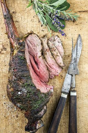 haut: Barbecue Haunch of Venison Stock Photo