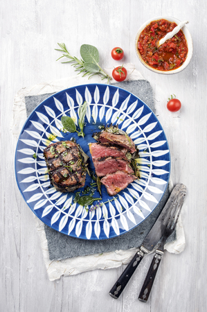 Dry Aged Barbecue Entrecote on Plate Stock Photo