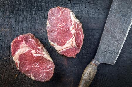 black angus: Dry Aged Entrecote Steak Stock Photo