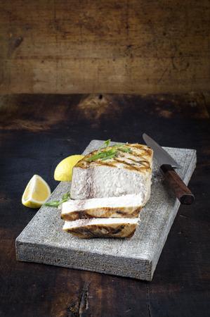 flagstone: Barbecue Swordfish on Flagstone Stock Photo