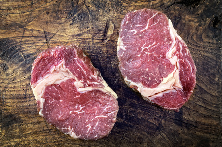 the cleaver: Dry Aged Entrecote Steak Stock Photo