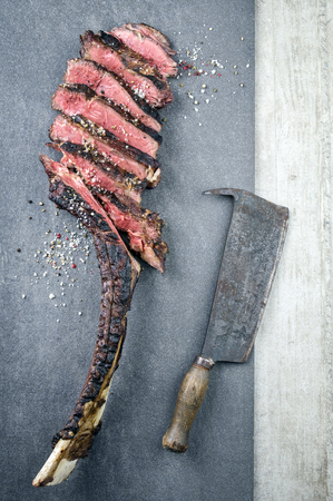 matured: Dry Aged Barbecue Tomahawk Steak Stock Photo