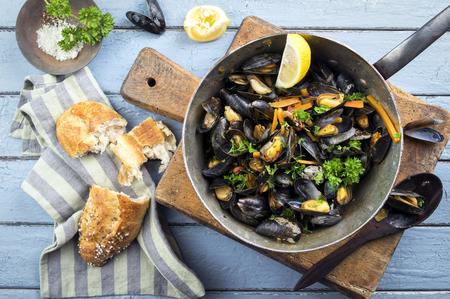 casserole: Sailors Mussel in Casserole Stock Photo