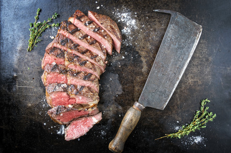 griddle: Barbecued Dry Aged Rib Eye Steak Stock Photo
