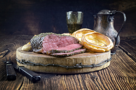 fillets: Roast Beef with Yorkshire Pudding Stock Photo