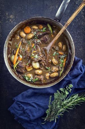 casserole: Boeuf Bourguignon in Casserole Stock Photo