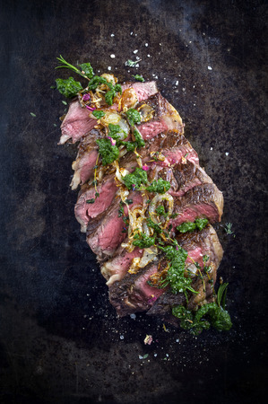 rumpsteak: Sliced Dry Aged Entrecote Double Steak Stock Photo