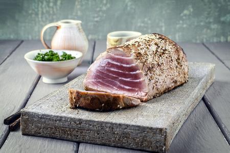 Tuna Steak with Wakame on Tray Stock Photo