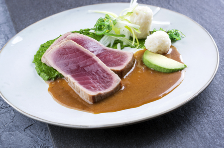 Tuna Tataki with Vegetable and Chilli Cream