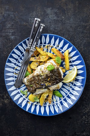 halibut: Halibut Filet with Fried Potatoes on Plate Stock Photo