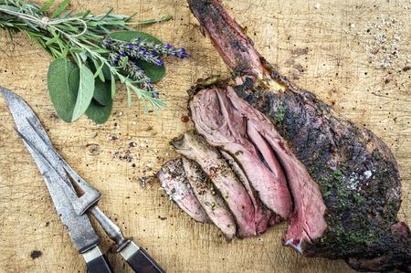 bush pepper: Barbecue Haunch of Venison Stock Photo