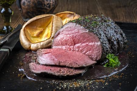 venison: Roast Venison with Yorkshire Pudding Stock Photo