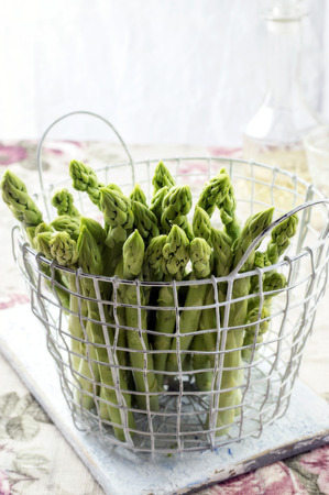 fine tip: Green Asparagus in Basket