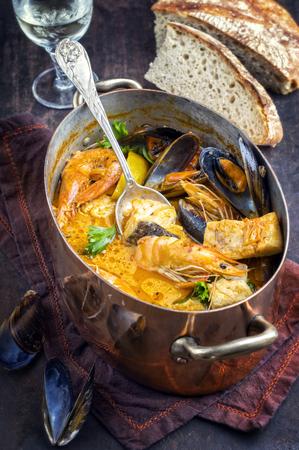 creole: Moqueca de Peixe in Copper Pot Stock Photo