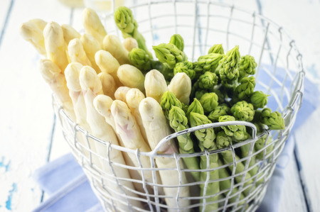 fine tip: White and Green Asparagus in Basket