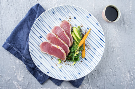 Tuna Filets with Vegetable Stock Photo