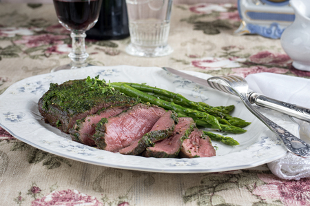 Reast Beef with Green Asparagus on Plate