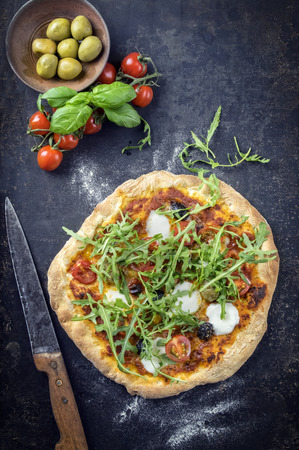 woodfired: Pizza Caprese on old sheet