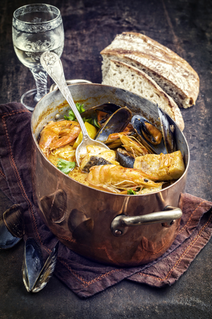 white backing: Bouillabaisse in Copper Pot