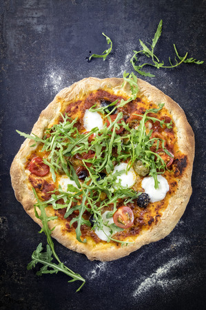 woodfired: Pizza Caprese on old backing sheet