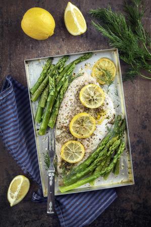 coalfish: Coalfish Filet with Green Asparagus