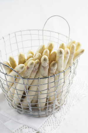fine tip: White Asparagus in Basket Stock Photo