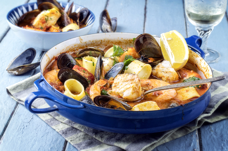 stew: Seafood Stew in Saucepan Stock Photo