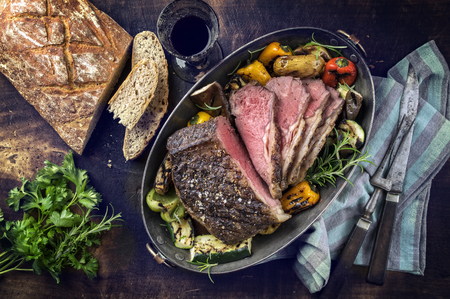 prime rib: Roast Beef with Vegetable and Farmhouse Bread Stock Photo
