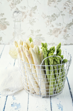 fine tip: Green and White Asparagus in Basket Stock Photo
