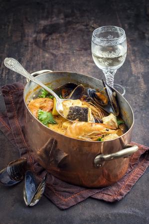 seafood soup: Bouillabaisse in Copper Pot