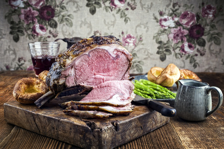 prime rib: Cold Cuts Rib of Beef with Yorkshire Pudding Stock Photo