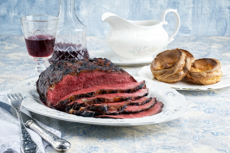 roast beef: Roast Beef with Yorkshire Pudding Stock Photo