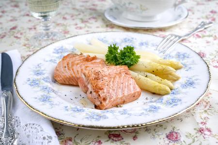 salmon steak: Salmon Steak with White Asparagus