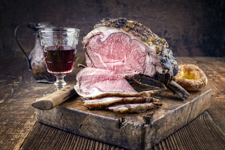 cold cuts: Cold Cuts Rib of Beef with Yorkshire Pudding Stock Photo