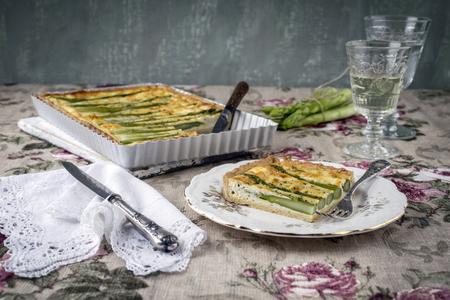 white backing: Tart with Green Asparagus Stock Photo