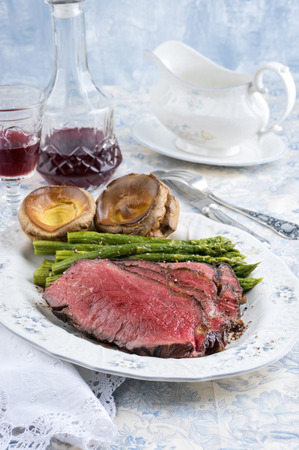 Roast Beef with Green Asparagus and Yorkshire Pudding
