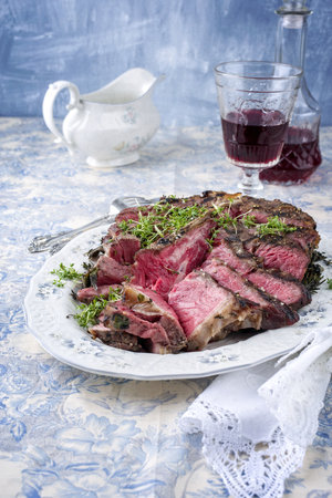 porterhouse: Sliced Porterhouse Steak on Plate Stock Photo