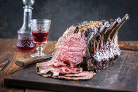 Rib of Beef Cold cut on old metal sheet 스톡 콘텐츠