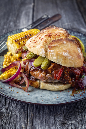semmel: Barbecue Hamburger with Vegetable and Chili Relish on Plate