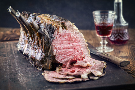 cold cut: Rib of Beef Cold Cut on old Metal Sheet Stock Photo