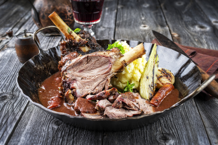 Lamb Knuckles with Vegetables in Red Wine Sauce Reklamní fotografie