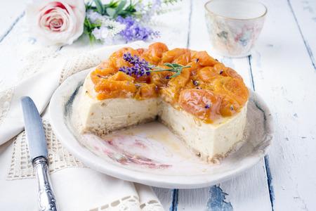 blancmange: Peach Cheesecake on Plate