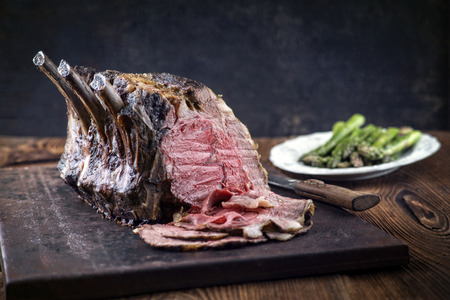 cold cut: Rib of Beef Cold Cut with Green Asparagus Stock Photo