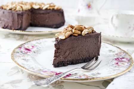 gateau: Chocolate Pie with Nuts on Plate Stock Photo