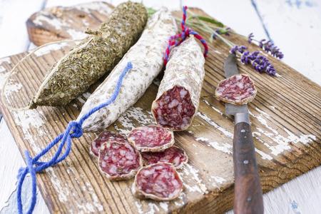 longaniza: Salami on Cutting Board