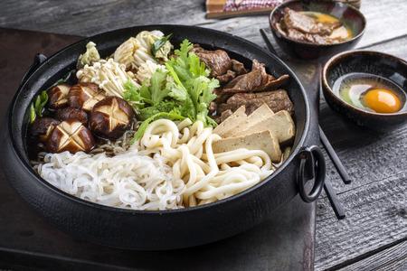 soja: Sukiyaki in traditional Japanese Cast Iron Pot