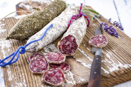 air dried: Salami on Cutting Board