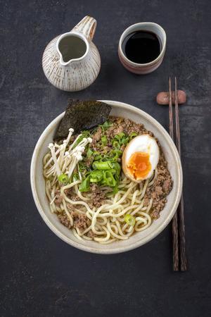 ei: Ramen Mince Soup in Bowl Stock Photo