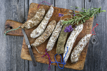 air dried: Salami on old cutting board