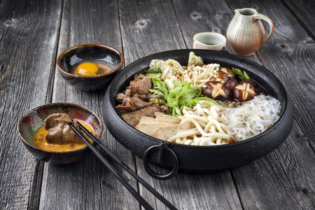 Sukiyaki in traditional Japanese Cast Iron Pot